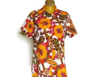 Mod Vintage Women's Blouse / Hippie Chic / Bright Floral Paisley Print / Orange Purple Hot Pink  / Button Front Blouse / Short Sleeve Blouse