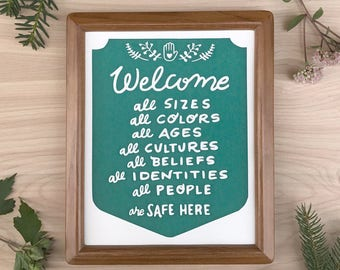 Welcome All 8 x 10 Resist Equality Social Justice Screen Printed Home Decor Wall Art