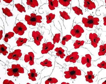 Lady In Red Poppies White Color ~ Loralie Designs Fabric, cotton quilt fabric