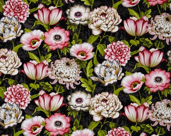 New ~  Large Florals Black Color ~ Tivoli Garden by Anne Rowan for Wilmington Prints, Quilt Cotton, Easter, Spring Fabric