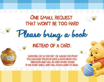 Winnie the Pooh Baby Shower / Bring a Book Insert Card / Printable File