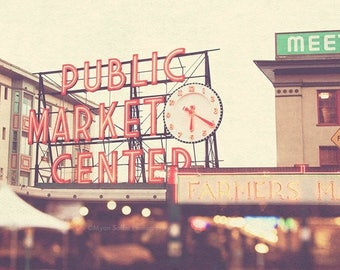 SALE Seattle photography, travel photo, Pike Place Market, rainy day, red, rainbow bokeh, clock, time, urban city home decor, PNW