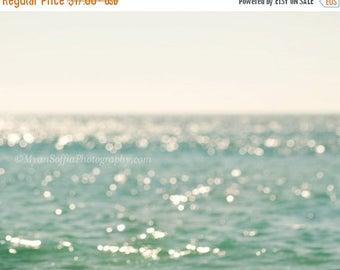 SALE beach photography, Big Sur print, blue home decor, beach cottage wall art, girls room, bokeh photograph, yoga art, California