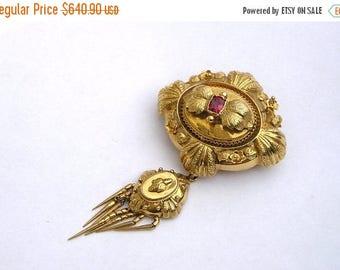 """ON SALE Georgian Victorian 14K Gold Ornate Fringe Drop Garnet Flower Pin Brooch 2 5/8"""""""
