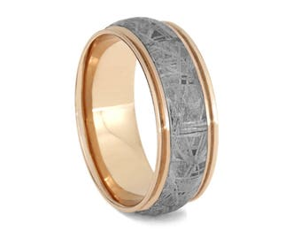 Unique Gibeon Meteorite Wedding Band, Grooved 14k Rose Gold Ring For Men, Meteorite Jewelry