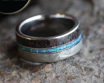 SALE - Men's Opal Wedding Band, Meteorite Ring With Dinosaur Bone, Gemstone Wedding Band in Titanium
