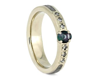 Alexandrite Wedding Ring, White Gold And Meteorite Engagement Ring, Unique Space Ring