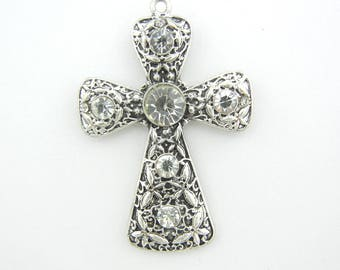 Cross with Butterfly Marcasite Texture and Rhinestones Antique Silver-tone