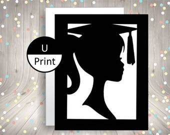 Girl Graduation Party Invitation or Thank You Card DIY Party Supply Printable Instant Download Card Blank Inside