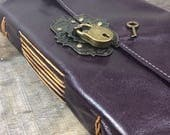 LG purple Elegant Leather Journal with lock and key and cotton paper