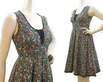 REDUCED Vintage Gunne Sax Dress Ditzy Floral Prairie Hippie Summer Corset Lacing Sundress S