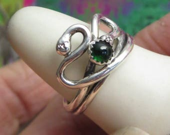 Green Chrome Tourmaline and Sterling Ring