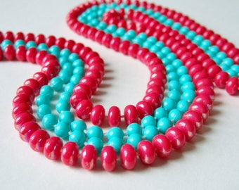 Two Long Bead Necklaces in Turquoise and Red - Cheap and Cheerful Cute Bright Jewellery