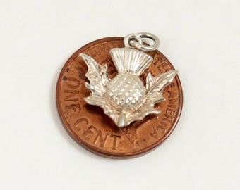 Vintage Scottish Thistle Charm, Tiny Thisle Pendant, Sterling Silver, British Charm, Scottish Charm, Small Pendant, Vintage Thistle Jewelry