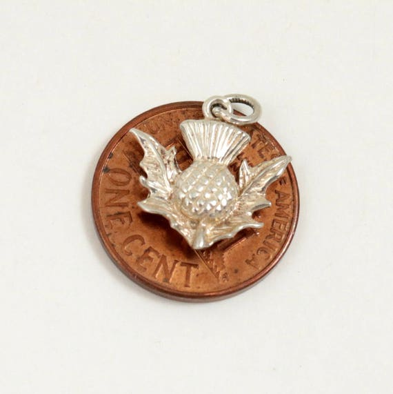 Vintage Scottish Thistle Charm, Sterling Silver