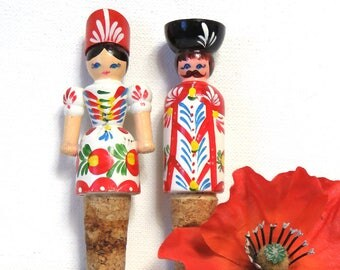 Wooden Doll Cork Stoppers/ Set of 2 Folk Art Wine Bottle Corks/ His and Hers