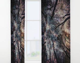 Trees Window Curtain,Stars, Forest, Night Sky Curtain, Decorative, Unique Design, Nature Decor, Office Window Curtain, Dorm, Campus,Woodland