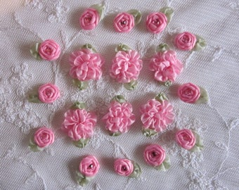 18pc Set HAND STITCHED Soft Rose Pink Ribbon Rosette Spider Rose Flower w Stone Applique Antique Doll Dog Baby Hair Bow