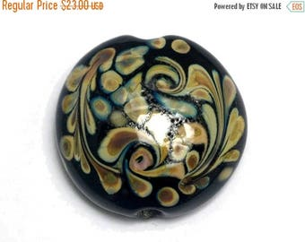 ON SALE 30% off Black w/Beige Free Style Lentil Focal Bead -11805302 Handmade Glass Lampwork Bead