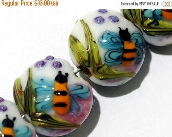 ON SALE 30% off Four Bumble Bee Dreams Lentil Beads - Handmade Glass Lampwork Bead Set 11007412