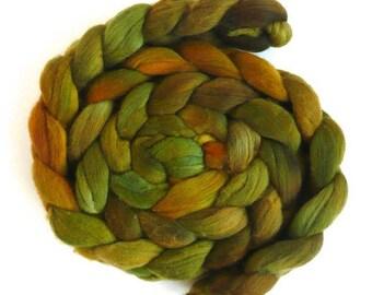 Brass Pot, Rambouillet Wool Roving - Hand Painted Spinning or Felting Fiber