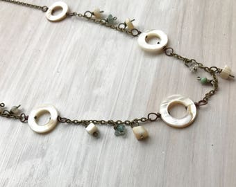mother of pearl and shell necklace, beach necklace, beach jewelry, bohemian necklace, bohemian jewelry, boho necklace, rising dawn boutique