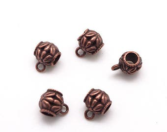 Color copper 5 beads for charm or pendant for cord 5mm