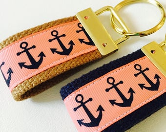 Key FOB Coral Anchor Key Fob, Navy anchor Keychain Fabric, Thank you gift, Affordable Teacher Gift, Lip Balm Keychain, wrist Keyfob