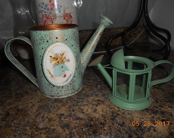 Lot of 2 Hallmark Marjolein Bastin Watering Cans Candle Holder and Planter for Arrangement