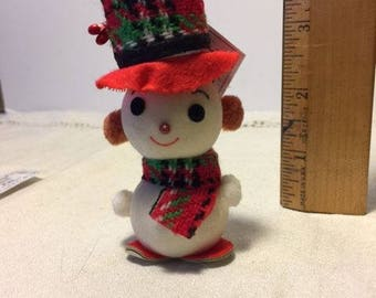 Vintage Snowman Christmas Ornament Figurine Figure with Plaid Hat Holiday Decoration
