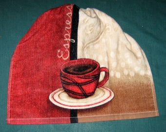 One Kitchen Crochet hanging Towel Coffee cup, Burgundy crochet top