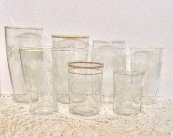 Vintage Bartlett Collins Etched Set of 7Glasses