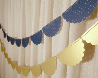 Navy Wedding Decor, Scalloped Garland, Navy Blue and Gold Foil Polka Dot Garland, Bridal Shower Decoration, Wedding Reception