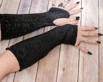 Gothic floral burnout Velvet arm warmers fingerless gloves with thumb holes MTcoffinz  MTC