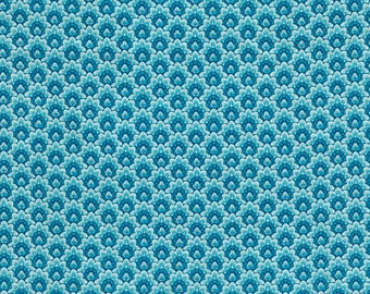 Duchess Floral Scallop Turquoise fabric | CM5231-TURQ | Chong-a Hwang | Timeless Treasures