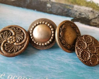 Vintage Buttons -4 wonderful large novelty assorted metal filigree and pressed designs Victorian,(June 460 17)
