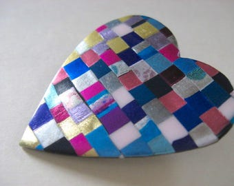 Heart Pin Booch in quilt mosaic pattern in blues, pinks, and purples