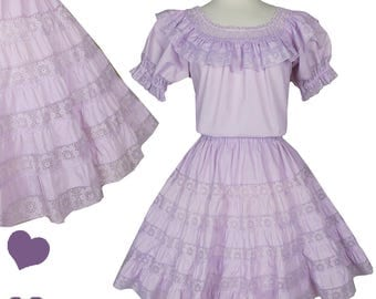 Vintage 70s 80s Lavender Puff Sleeve Peasant 2 Piece Square Dance Set Top Skirt XS S M Full Skirt Light Purple Mexican Southwestern Lace