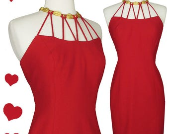 Vintage 80s 90s Gold Choker Red Strappy Mini Party Dress XS Cocktail Prom Dance Grunge Lady in Red Hipster Necklace Bandage Body Con Sheath