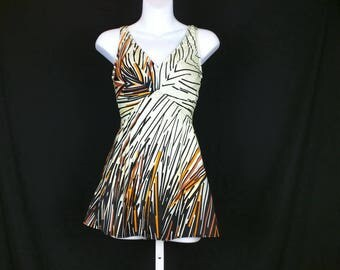 Vintage Ivory Black Orange Gray Peach Stripe Skirt Bathing Suit Misses 14 L Jantzen 80s