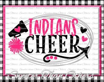 Cheer SVG, Indians Cheer Svg, Cheerleader Svg Indians Cheerleader pattern Vinyl Design SVG DXF Silhouette, Cameo, Cricut, Instant Download