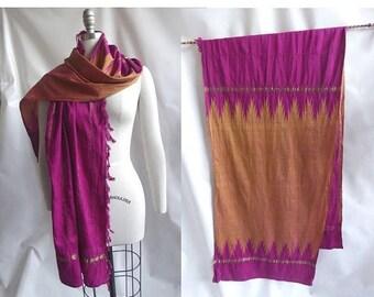 Vintage Scarf Silk Magenta Gold Ikat Stole Wrap Tribal Hippie Boho