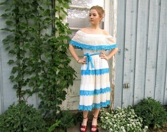 Vintage Off the Shoulder Spanish Crocheted Tiered Dress// Tea Length// Medium// Blue White// Summer// emmevielle