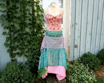 Fantasy Upcycled Beaded Bustier Stars Maxi Dress// Medium// Repurposed// Altered Clothing// Pink Teal// emmevielle