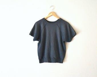 1970's Blue Raglan Short Sleeve Sweatshirt