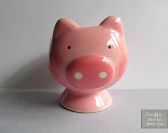 Soft Boiled Egg Cups,Pig,Porcelain Egg Cups,Ceramic Egg Cups,Serving,Breakfast,Brunch,Kitchen,Pig egg cups,Adorable Egg Cups,Pink Pig,Piggy