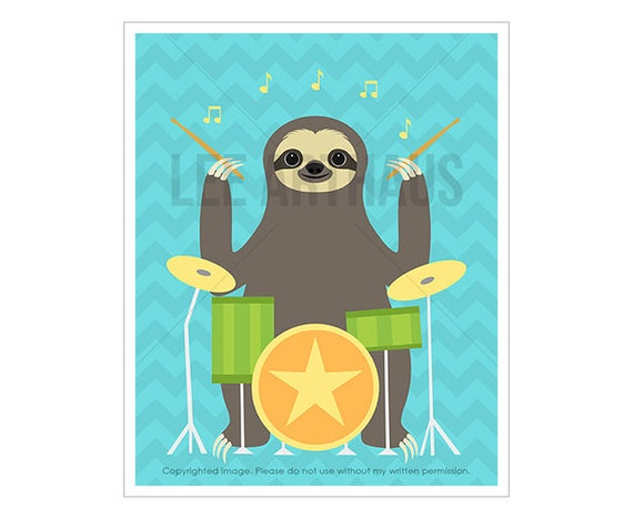 1J Sloth Art - Sloth Playing Drums Wall Art - Drummer Gifts - Sloths Print - Kids Room Decor - Gift for Boys - Boys Nursery Wall Decor
