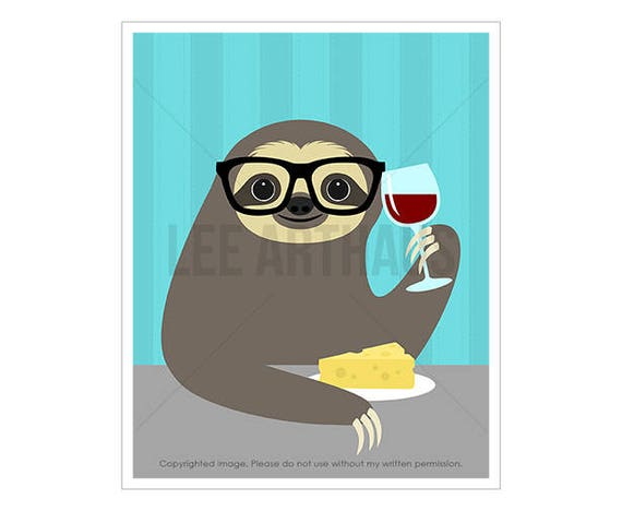 8J Wine Art - Sloth Drinking Wine Wall Art - Wine Home Decor - Wine and Cheese Print - Funny Birthday Gift - Art for Kids - Animal Drawing