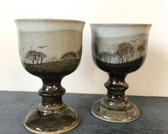 vintage pottery goblets - drip glaze - winter trees - boho barware - beige chocolate - wedding toasting glasses - Set of 2
