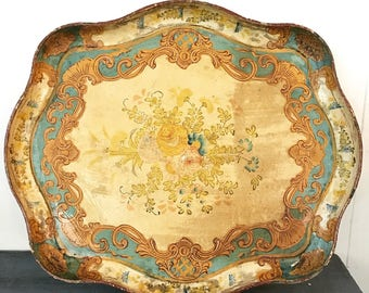 vintage serving tray - large Florentine paper mâché - decorative tray - boho shabby cottage - turquoise cream gold